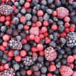 Close up of frozen mixed fruit - berries - red currant, cranberry, raspber — Stock Photo