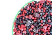 Frozen mixed fruit in bowl - berries - red currant, cranberry, raspberry, b — Stock Photo