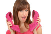 Woman and shoes. — Stock Photo