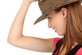Adventurous woman with fedora — Stock Photo