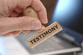 Rubber stamp marked with testimony — Stock Photo