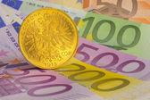 黄金和欧元 — 图库照片