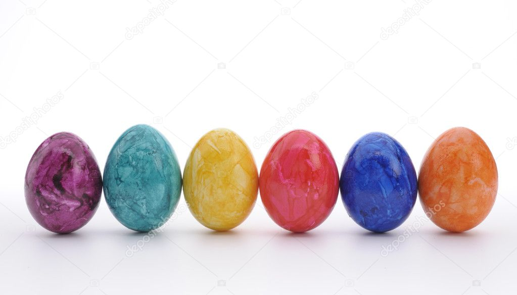 Six colorful easter eggs — Stock Photo #9165602