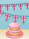 Bunting and cake — Stock Vector