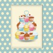Cupcake stand and polka dot background — Stock Vector