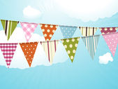 Bunting and blue sky — Stock Vector