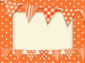 Bunting and orange polka dot frame — Stock Vector