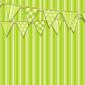 Bunting on a green striped background — Stock Vector