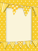 Bunting and yellow polka dot frame — Stock Vector
