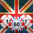 Stock Vector: Uk and England bingo balls and union jack flag