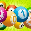 Stock Vector: 2012 bingo lottery balls on green