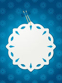 Paper snowflake Christmas label — Stock Vector
