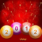 2012 bingo lottery balls on red — Stock Vector
