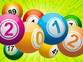 2012 bingo lottery balls on green — Stock Vector