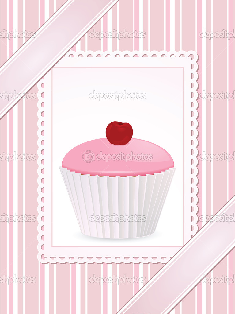 Pink cherry cupcake on a white card against a pink striped background with ribbons — Stock Vector #8417091