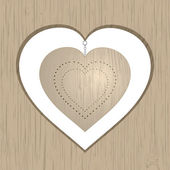 Wooden heart — Stock Vector