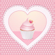 Decorative cupcake love heart — Stock Photo