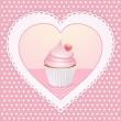 Decorative cupcake love heart — Stock Photo