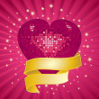 Sparkling pink valentine heart and banner — Stock Photo