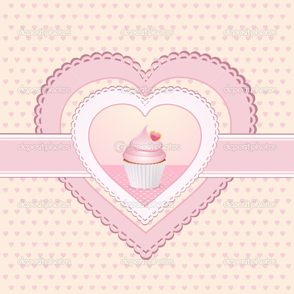Pink cupcake on a heart shaped label with ribbon — Stock Photo #8611269