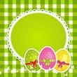 Easter eggs and border on green gingham — Stock Vector