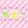 Easter egg and spring flowers on pink gingham — Stock Vector