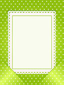 Blank card slotted into a green polka dot background — Stock Vector