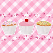 Cupcakes on pink gingham — Stock Vector