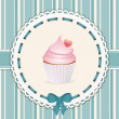 Vintage cupcake background blue — Stockvectorbeeld