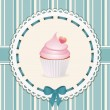 Vintage cupcake background blue - Stock Vector