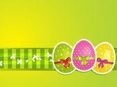 Easter background on gingham ribbon — Stock Vector