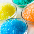 Colorful bath salt in glass bowl — Stock fotografie