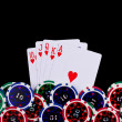 Playing cards and poker chips - Foto de Stock