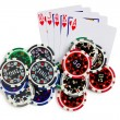 Playing cards and poker chips — Foto de Stock