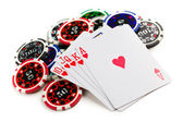 Playing cards and poker chips — Stockfoto