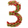 Number 3 made from red pepper. — Stock Photo