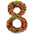 Number 8 made from red pepper. — Stock Photo
