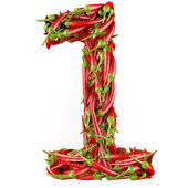 Number 1 made from red pepper. — Stock Photo
