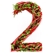 Number 2 made from red pepper. — Stock Photo