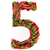 Number 5 made from red pepper. — Stock Photo