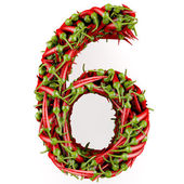 Number 6 made from red pepper. — Stock Photo