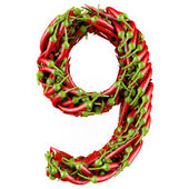 Number 9 made from red pepper. — Stock Photo