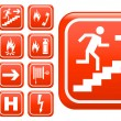 Set of red emergency fire safety signs — Stock Photo