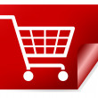 Red shopping basket sign — Stock Photo