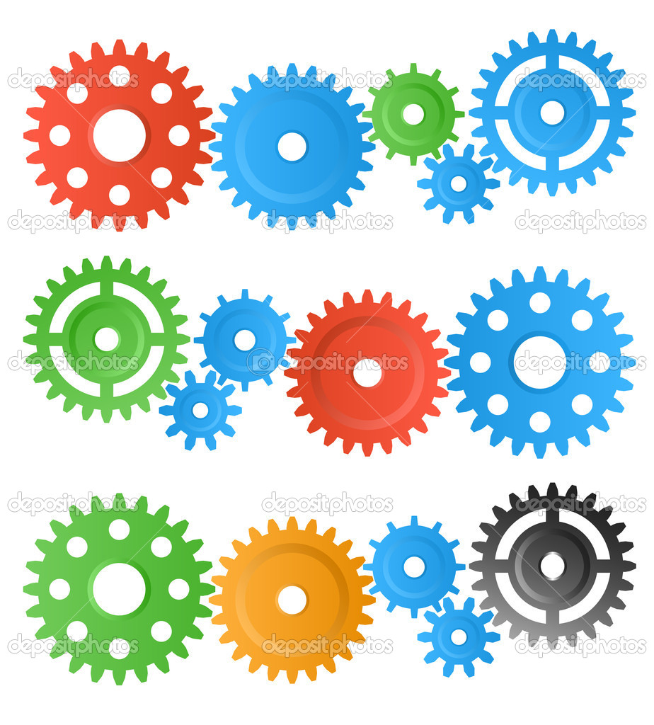 Set of colourful gear wheels isolated on white — Stock Photo #7971363