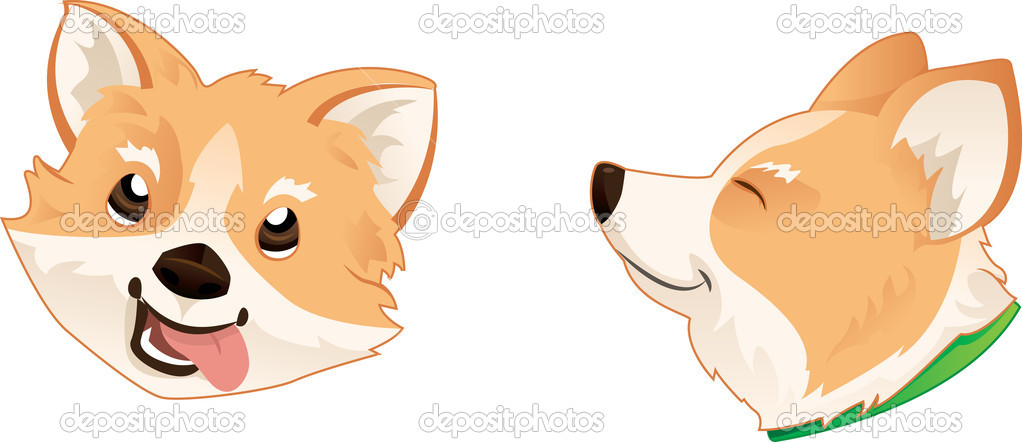 Pembroke Welsh Corgi Dog Head — Stock Vector #10486801