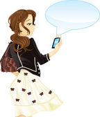 Girl with mobile phone and text message — Stock Vector