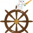Captain rabbit sailing — Stock Vector