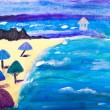 Beach holiday painting by Kay Gale — Stock Photo