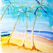 Beach paradise painting by Kay Gale — Stock Photo